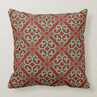 Red Wine Vintage Chinese Square Floral Cushion