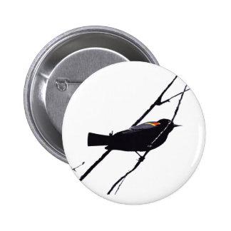 Red Winged Black Bird Button