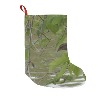 red winged black bird Fishing from a tree branch Small Christmas Stocking