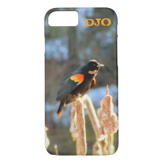 Red Winged Black Bird on Cattail iPhone 8/7 Case