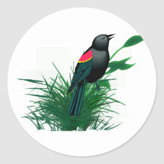Red Winged Blackbird in Tall Grass Stickers