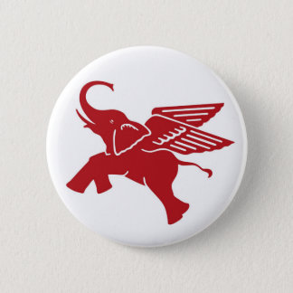 Red winged elephant 6 cm round badge
