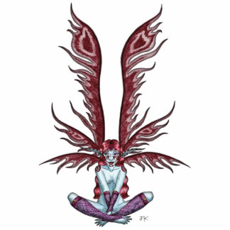 Red Winged Faerie Standing Photo Sculpture