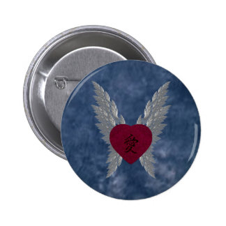 Red Winged Heart 6 Cm Round Badge