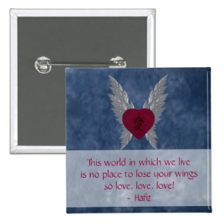 Red Winged Heart 15 Cm Square Badge