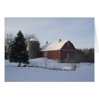 Red Winter Barn Card
