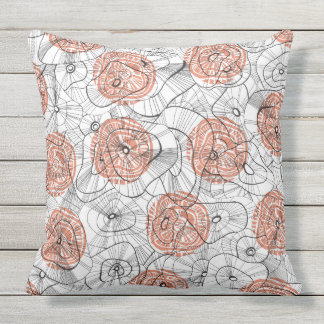 Red winter blooms outdoor cushion