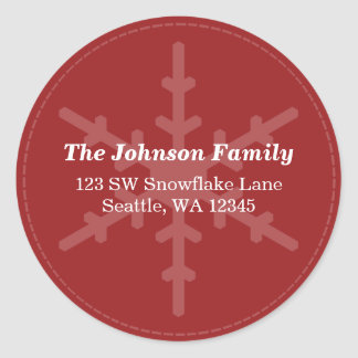 Red Winter Snowflake Custom Address Label Round Sticker