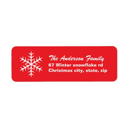 Red winter snowflake family Christmas Holiday Return Address Label