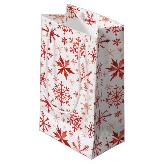 Red Winter Watercolor Snowflakes Small Gift Bag