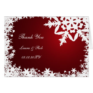 red winter wedding Thank You Greeting Card