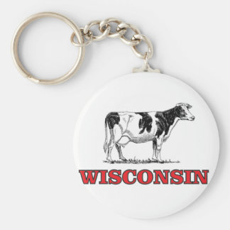 red Wisconsin cow Key Ring