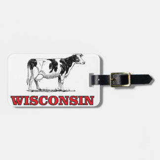 red Wisconsin cow Luggage Tag