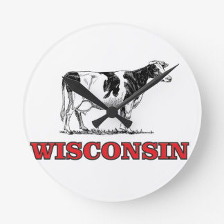 red Wisconsin cow Round Clock