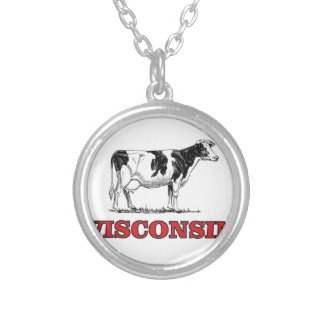 red Wisconsin cow Silver Plated Necklace