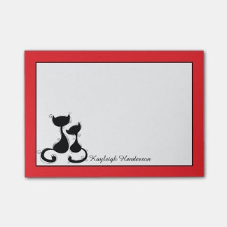 Red with Black Cats Silhouette Personalized Post-it® Notes