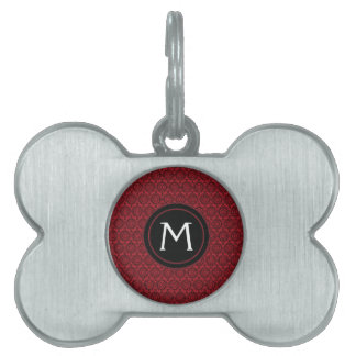 Red With Black Lace Rounds Pattern With Initial Pet Tag