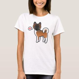 Red With Black Mask Akita Dog Love Illustration T-Shirt