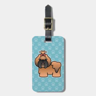 Red With Black Mask Cartoon Shih Tzu Luggage Tag