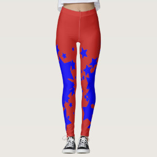 Red with Blue Star Leggings