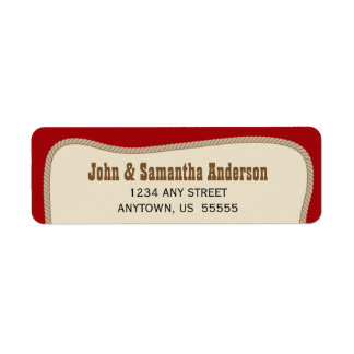 Red with Brown Rope Western Cowboy Return Address Label