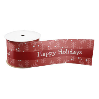 Red with Christmas Snowflakes Satin Ribbon