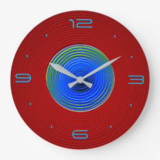 Red with Green Blue Swirly Glow Centre>Wall Clock