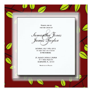 Red with leaves Elegant Vintage Weddin Personalized Invitation