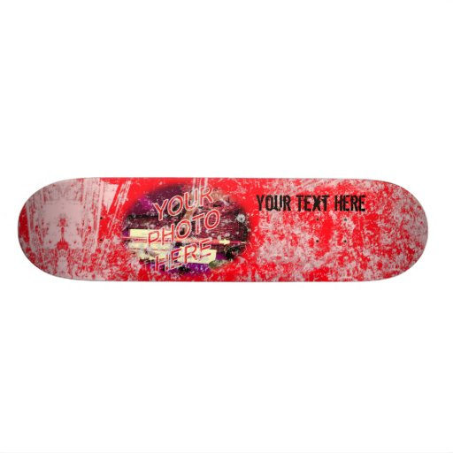 Red with Light Grunge Photo Template Skateboard