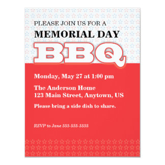 Red with Stars Memorial Day BBQ 11 Cm X 14 Cm Invitation Card
