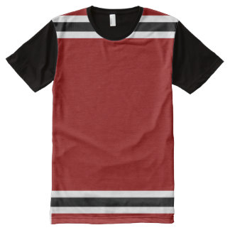 Red with White and Black Trim All-Over Print T-Shirt