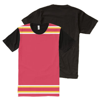 Red with White and Gold Trim All-Over Print T-Shirt