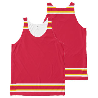 Red with White and Gold Trim All-Over Print Tank Top