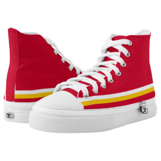 Red with White and Gold Trim Zipz Hi-Top Printed Shoes