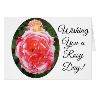 Red with White Edged Rose in Oval Shape Card
