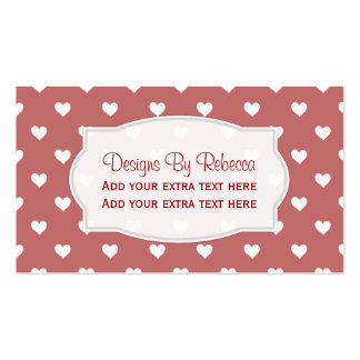 Red With White Heart Business Cards