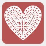 Red With White Heart Valentine's Sticker