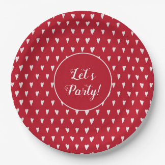 Red with white hearts pattern custom text paper plate