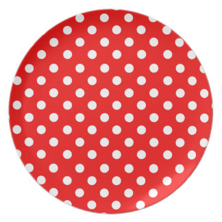 Red with white polka dots plate