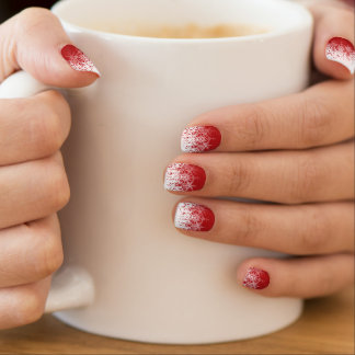 Red with White Snowflakes Minx Nail Art