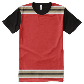 Red with White True Gold and Black Trim All-Over Print T-Shirt