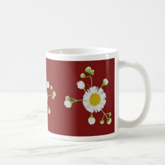 Red with yellow and white daisies coffee mugs