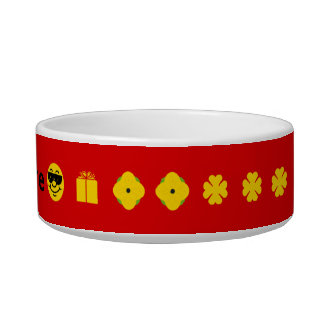 Red with yellow clover flowers smiley personalized pet food bowl