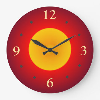 Red with Yellow Full Moon> Wall Clock