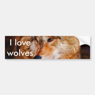 Red wolf fractal bumper stickers
