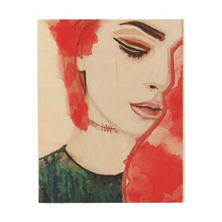 RED WOMAN WOOD WALL ART