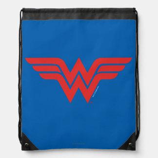 Red Wonder Woman Logo Drawstring Bag
