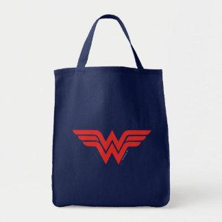 Red Wonder Woman Logo Grocery Tote Bag