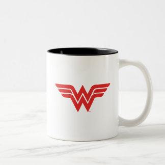Red Wonder Woman Logo Two-Tone Coffee Mug