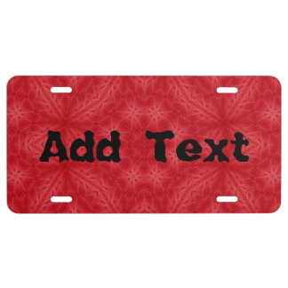 Red wood abstract pattern license plate